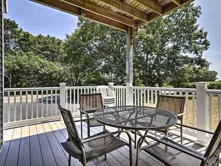 East Falmouth Cape Cod vacation rental - 1st Floor Patio overlooking yard; Views of Bourne's Pond & Ocean