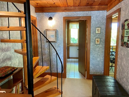 Brewster (Blueberry Pond)  Cape Cod vacation rental - Second floor spiral staircase to upper loft