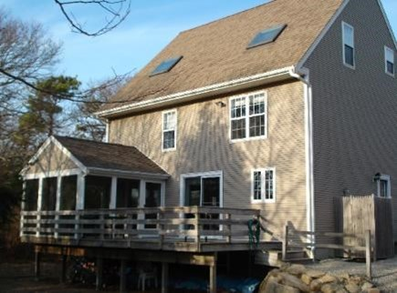 South Yarmouth Cape Cod vacation rental - Back porch, deck, and outdoor h/c shower