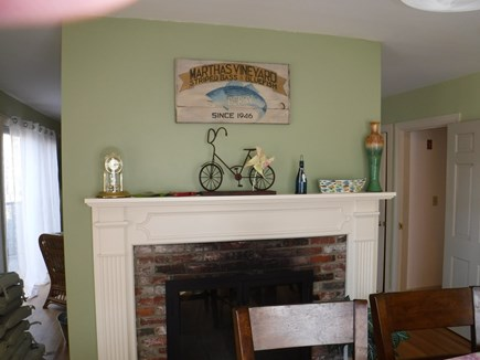 Harwich, Waterfront Quiet Cape Cod vacation rental - Dining Room fireplace