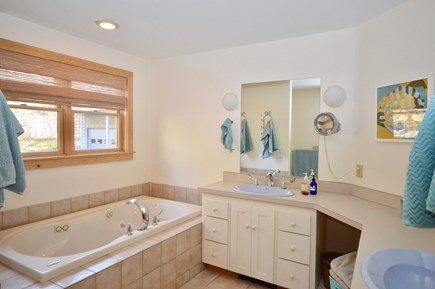 Eastham Cape Cod vacation rental - Master bathroom with stand up shower and jacuzzi tub