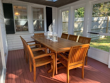 Dennis - Mayflower Beach Cape Cod vacation rental - Screened porch with Seating for Eight