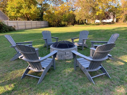Dennis - Mayflower Beach Cape Cod vacation rental - Fire pit with Adirondack Chairs