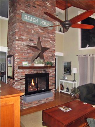 New Seabury (Mashpee) New Seabury vacation rental - Living room and kitchen with sliders to the deck.