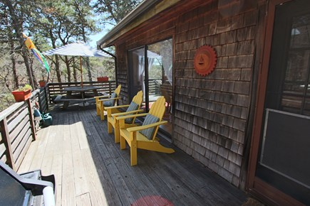 Truro Cape Cod vacation rental - Large Wrap Around Deck. Outdoor Shower underneath.