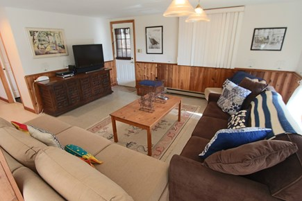 Truro Cape Cod vacation rental - Lower Level Living Room with TV and Ductless AC.