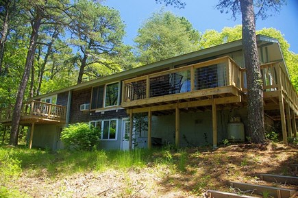 Wellfleet Cape Cod vacation rental - Rear of cottage with 2 decks w/views of pond.