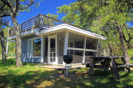 South Wellfleet Cape Cod vacation rental - Picnic area outside cottage, screened-in porch and roof deck.