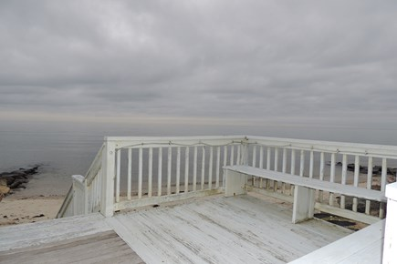 West Harwich Cape Cod vacation rental - Deck with benches, stairs lead to the beach
