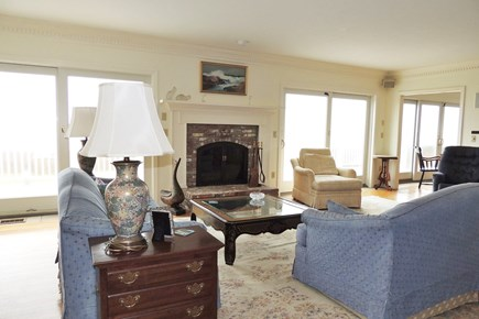 West Harwich Cape Cod vacation rental - Spacious living room open s to large deck area