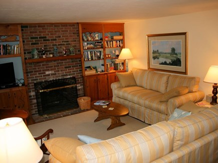 Chatham near Ridgevale Beach  Cape Cod vacation rental - Living room with new seating, HDTV, books.