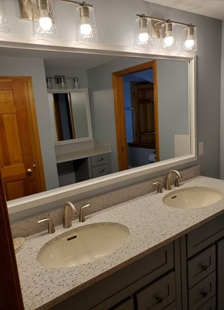 Chatham near Ridgevale Beach  Cape Cod vacation rental - Upstairs Bath.  Two sinks, makeup vanity, Tub and Shower