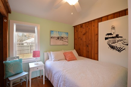 Falmouth Cape Cod vacation rental - Queen sized bed with ceiling fan and cathedral ceiling