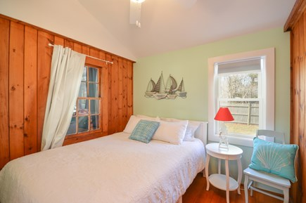 Falmouth Cape Cod vacation rental - Bedroom with Queen bed and cathedral ceiling and fan