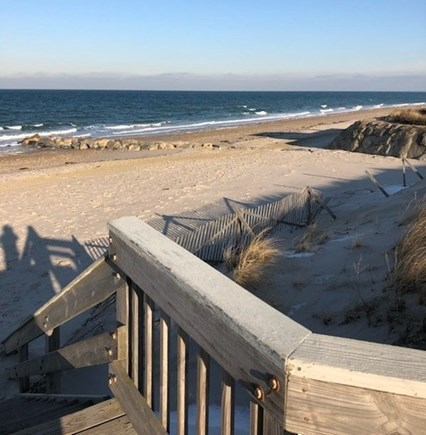 East Sandwich Cape Cod vacation rental - Our private beach boardwalk with seats at end for amazing views