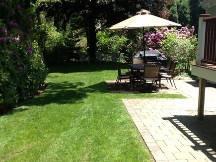 East Sandwich Cape Cod vacation rental - Lovely table, chairs, umbrella with other sitting areas