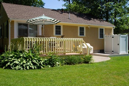 Mashpee, Popponesset Cape Cod vacation rental - Large private sunny back yard. Perfect for family fun!