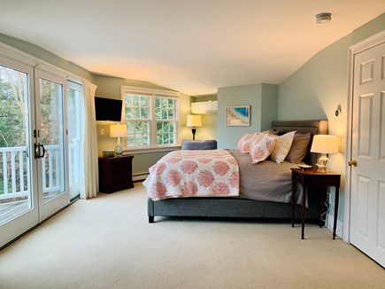 Marion MA vacation rental - King Master suite with tv and private deck overlooking the water
