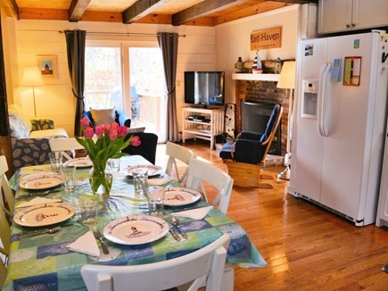 Eastham Cape Cod vacation rental - Living room is open to kitchen and dining area
