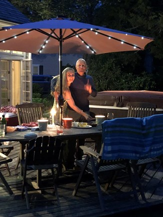 Chatham Cape Cod vacation rental - Private backyard deck is a great setting for evening meals.
