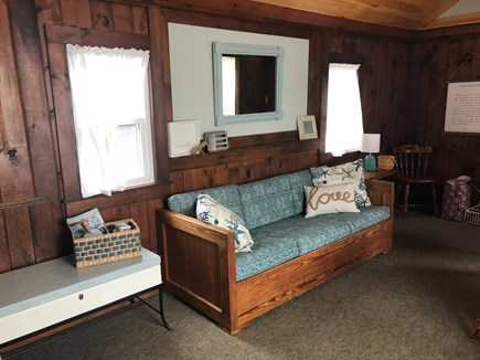 Dennis Port Cape Cod vacation rental - Living area with sofa, loveseat, breakfast table and TV