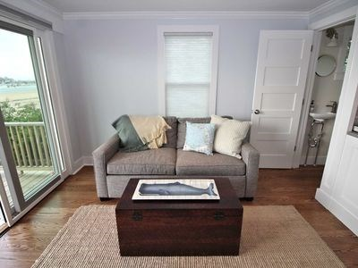 Provincetown Cape Cod vacation rental - Living room w/sofabed (queen tempurpedic), beach and deck views.