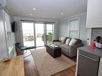 Provincetown Cape Cod vacation rental - Living room, beach and deck views.