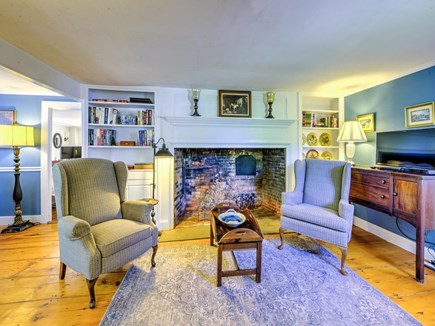 Barnstable Village Cape Cod vacation rental - Beehive oven fireplace in parlor /TV