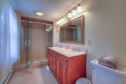 Barnstable Village Cape Cod vacation rental - Private Master NEW Bath with Tiled Glass Shower and Double Sink