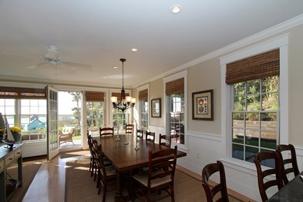 Chatham Cape Cod vacation rental - Dining room with double french doors to deck overlooking water