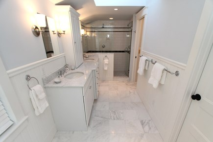 Chatham Cape Cod vacation rental - Ensuite Master Bath: double shower, toilet room & marble counters