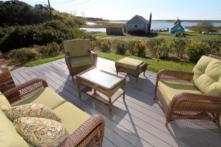 Chatham Cape Cod vacation rental - Deck with seating and dining areas and stunning water views