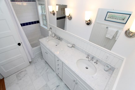 Chatham Cape Cod vacation rental - Ensuite Twin Bath:  tub, toilet room & marble counters