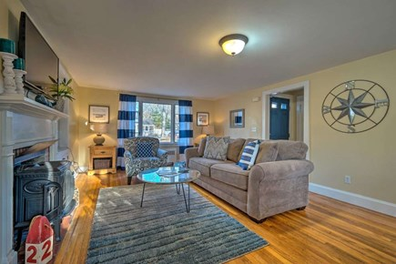 South Yarmouth Cape Cod vacation rental - Enjoy the open living space decorated with fun pops of color