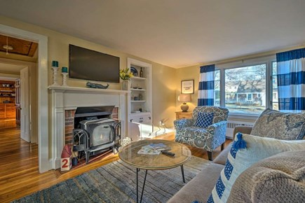 South Yarmouth Cape Cod vacation rental - Bright cozy comfortable living room with gas fireplace