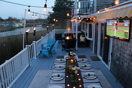 Dennis Cape Cod vacation rental - Large Deck Overlooking the Swan River. Outdoor TV/Table for 10
