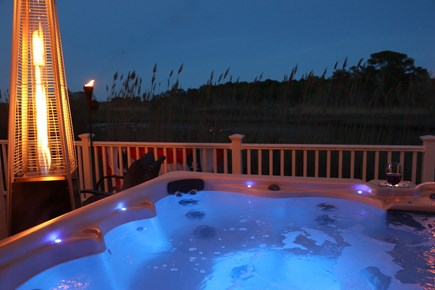 Dennis Cape Cod vacation rental - Hot Tub overlooking the water.