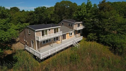 Dennis Cape Cod vacation rental - Large deck overlooking the Swan River