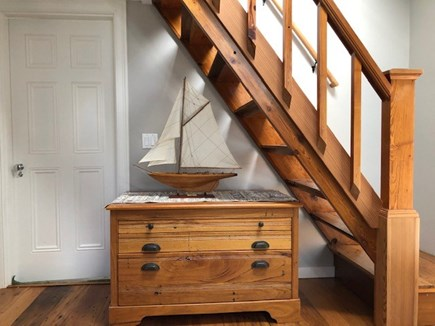 Eastham Cape Cod vacation rental - Handcrafted chest by Mark, and stairway to upstairs loft