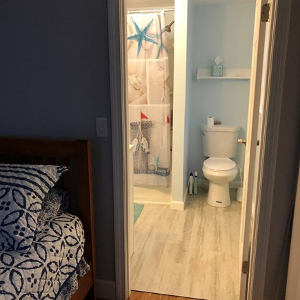 Bayside in East Dennis Cape Cod vacation rental - Bathroom doorway from master bedroom