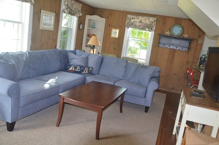 Quivet Neck, East Dennis Cape Cod vacation rental - Living room with large sectional flat screen tv