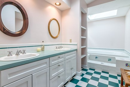 Brewster Cape Cod vacation rental - En suite master bath with dual vanity, jetted tub, step-in shower