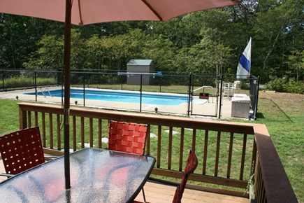 Brewster Cape Cod vacation rental - Deck overlooking the yard and pool
