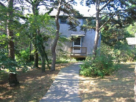 Truro Cape Cod vacation rental - Walk down a beautiful wooden walkway to our house in the woods.