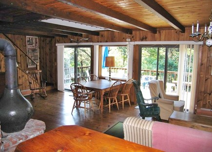 Truro Cape Cod vacation rental - The living room/dining room. looking out to the deck