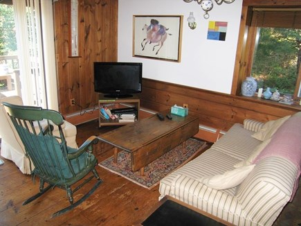 Truro Cape Cod vacation rental - Relaxing in the living room with the HD flatscreen TV