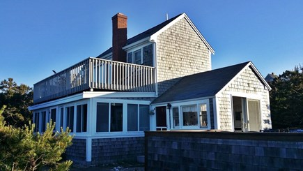Wellfleet Oceanfront Home Cape Cod vacation rental - The House from the Ocean side.Upper deck rail now see-through