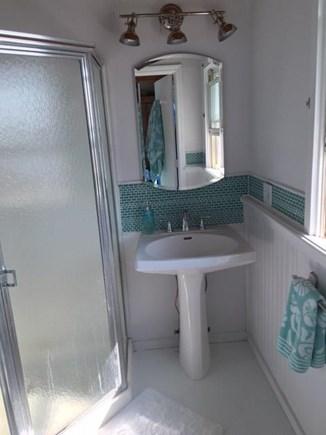 Wellfleet Oceanfront Home Cape Cod vacation rental - Master bath white marble floor, pedestal sink, corner shower,