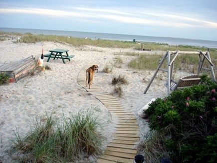 North Truro Cape Cod vacation rental - Path out to the private bayside beach.