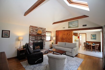 Truro Cape Cod vacation rental - Very comfortable living room with gas fireplace and TV